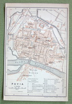 1903 MAP ORIGINAL Baedeker - ITALY Pavia City Plan - $4.73