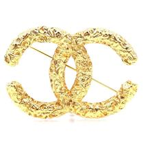 #31271 Chanel Gold XL Ultra Rare Large Cc Textured Hardware Brooch Pin - $650.00