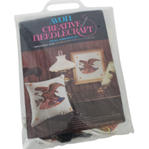 Avon American Eagle Crewel Embroidery Pillow Picture Kit Vintage Opened Kit - $19.80