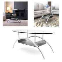 38 Inch Glass Coffee Table with Black Mesh Magazine Holder Living Room F... - €77,40 EUR