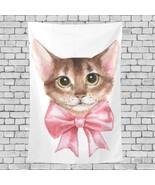 Farmhouse Wall Tapestry Cartoon Bow Cat Animal Pattern Woman Wall Hangin... - $26.00