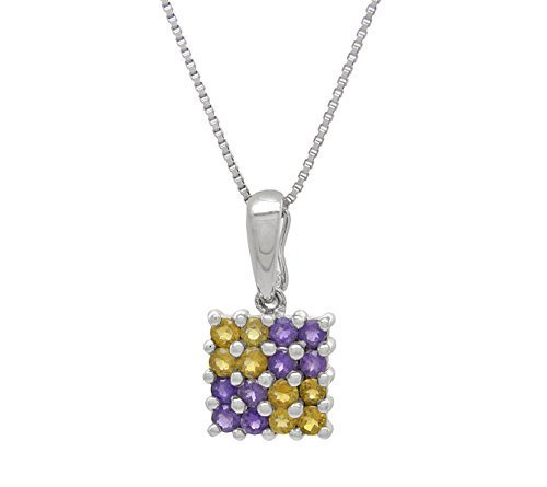 14 k White Gold Genuine Amethyst and Citrine Pendant with Silver Chain
