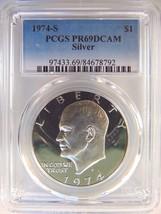 1974 S Eisenhower IKE PCGS PR 69 DCAM CAMEO SILVER Dollar Coin DMPL PF P... - $65.99