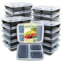 Pack Of 20 Meal Prep Containers 3 Compartment with Lids Food Storage for... - €22,11 EUR