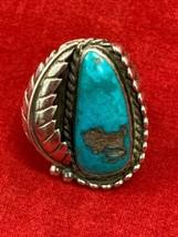 Beautiful Vintage Southwestern Handmade Sterling Silver Turquoise Ring  ... - €40,73 EUR