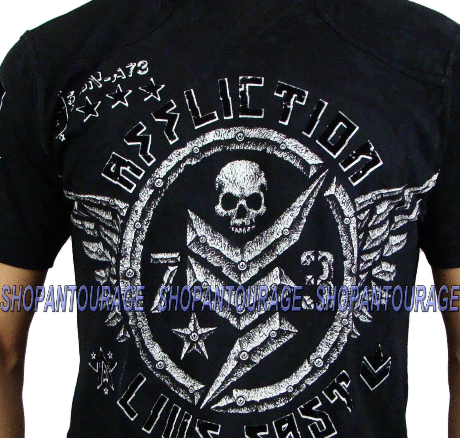 AFFLICTION Compound A11210 New Men`s Black T-shirt