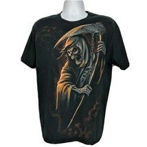 Halloween Grim Reaper Scythe Death Skull Graphic T-Shirt Size Large Shor... - $33.06