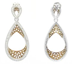 10K White & Rose Gold 0.50 Ct Diamond Pear Shaped Earrings image 2