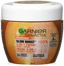 Garnier Skin Active Glow Boost 2 in 1 Facial Mask & Apricot Scrub Vegan ... - $9.49