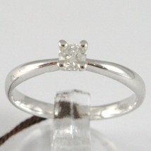 WHITE GOLD RING 750 18K, SOLITAIRE, STEM ROUNDED, DIAMOND CARAT 0.17 image 1