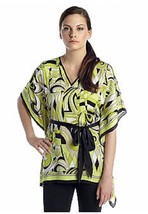 MICHAEL KORS Black, Green & White V Neck Belted Kimono Top ( LG//XL ) NW... - $23.16