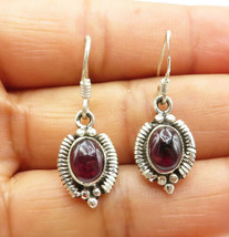 925 Silver - Vintage Cabochon Amethyst Wire Twist Detail Dangle Earrings... - $25.22
