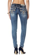 NEW ROCK REVIVAL WOMEN'S PREMIUM SKINNY LIGHT DENIM JEANS WOVEN PANTS SUN S202