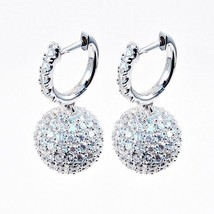 ZirconZ-Pave Signity CZ Sterling Silver Art Deco Ball Hoop Earrings-4 Colors - $99.99