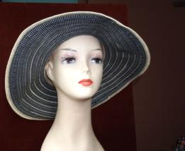 "Scala Collezione Ladies Gray & White Stripe Wide Floppy Hat 4"" Brim - $23.59"