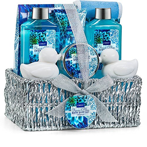 Home Spa Gift Basket in Heavenly Ocean Bliss Scent - 9 Piece Bath & Body Set Wit