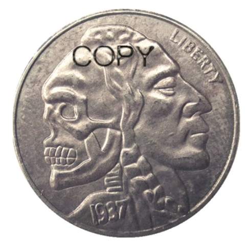 Primary image for Hobo Nickel 1937-D 3-Legged Buffalo Nickel Rare skull Zombie Skeleton Copy Coin