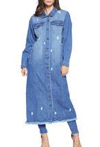 Women's Oversize Long Button Up Distressed Cotton Denim Classic  Jean Jacket image 9