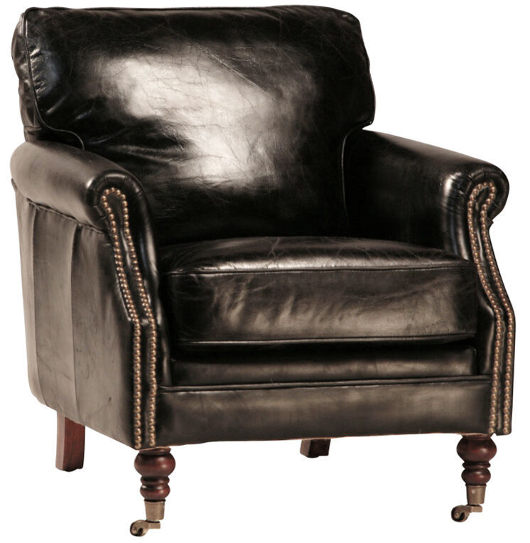 Fabulous Italian Soft Top Grain Black Leather Club Chair ,30'' x 31''H.