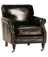Fabulous Italian Soft Top Grain Black Leather Club Chair ,30'' x 31''H. - $1,480.05