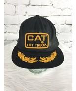 CAT Lift Trucks Trucker Hat Cap Black Yellow Mesh Snapback Vintage Distr... - $44.55