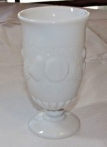 "Milk Glass Wine Goblet 3 1/4"" Wide X 6"" Tall Fruit Pattern Vintage ~ - $17.81"