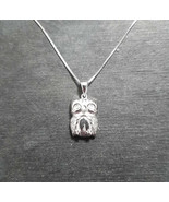 Brand New 14k White Gold On 925 Cute Owl Charm Pendant & Box Chain - $32.71