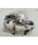 925 Sterling Silver DOLPHIN Wrap Sz 8.25 Ladie's Ring Adjustable Band - $17.99