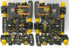6 1991 Tyco Tcr Slot Less Car Chassis Wide Yellow Wheels Unused Nos No Rear Tires - $36.62