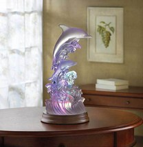 Beautiful Frosted Dolphins On Waves Of Light Color Changing Sculpture Fi... - $26.93