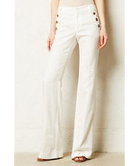 NWT ANTHROPOLOGIE LINEN BRIGHTON WIDE-LEGS IVORY TROUSER PANTS by ELEVEN... - $63.74