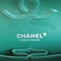 AUTH Chanel 2018 TURQUOISE GREEN LAMBSKIN MEDIUM DOUBLE FLAP BAG SHW image 8