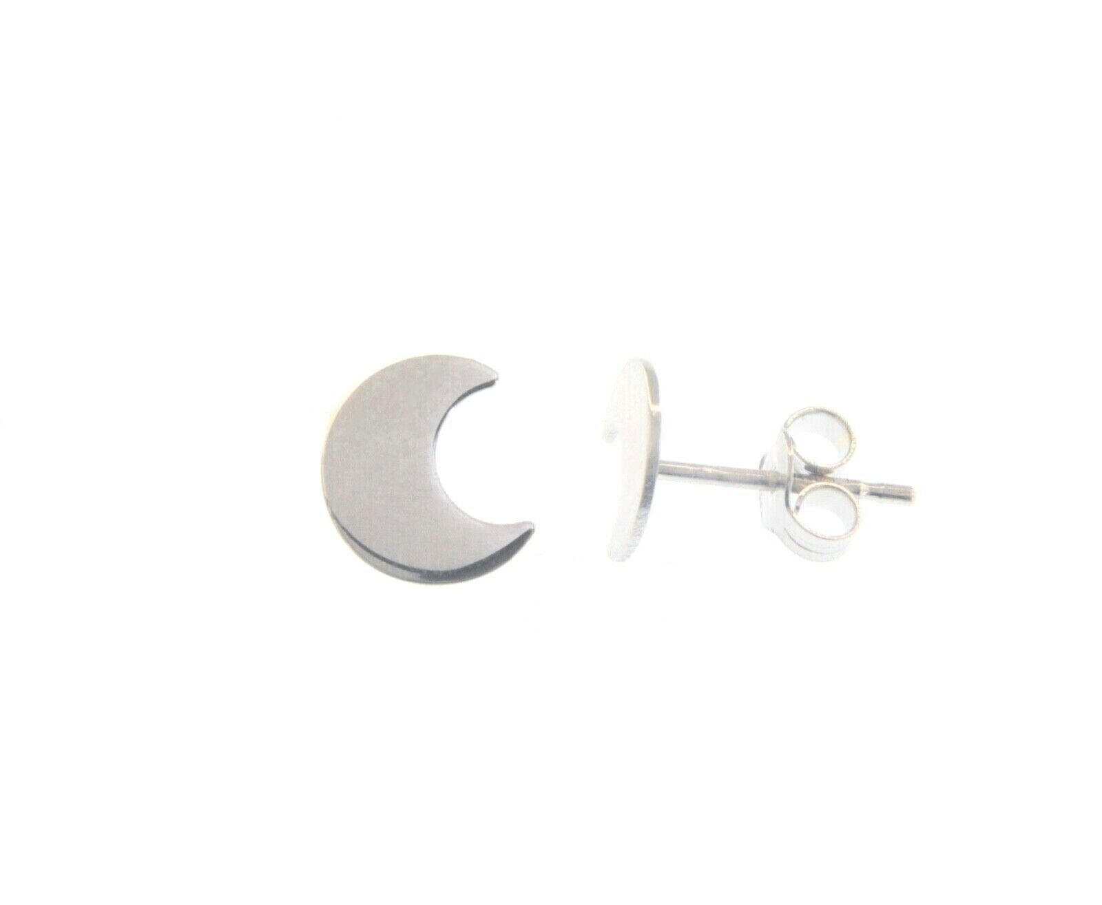 18K WHITE GOLD EARRINGS SMALL FLAT MOON, SHINY, SMOOTH, 5mm, MADE IN ITALY