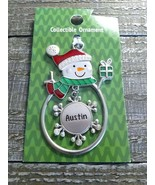 "Christmas Snowman Rare Personalize ""Austin"" Collectable Silver Ornament ... - $29.35"