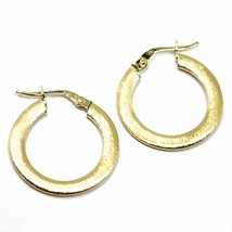 18K YELLOW GOLD CIRCLE HOOPS 3x1mm, EARRINGS 20mm, DOUBLE FACE SMOOTH & SATIN image 2