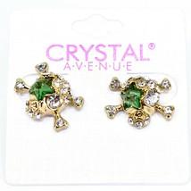 Crystal Avenue Silver Tone Pirate Skull w Green Star Charm Post Earrings