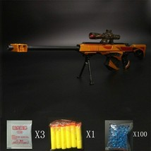 Barret Strike Water Bullet Yellow Gun Toys Sniper Rifle Pistol Soft Vulc... - $26.99