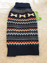 Dog Sweater Size S Pet Puppy Apparel Dark Blue Lightweight Winter Design - $10.90
