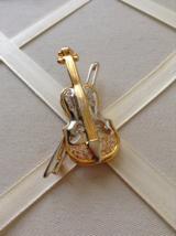 Vintage Violin Crystal Rhinestone Silver And Gold Tone Fashion Brooch - $30.00