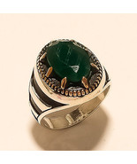 Natural Green Onyx Ring 925 Sterling Silver Mens Ottoman BRZ Turkish Jew... - $27.61