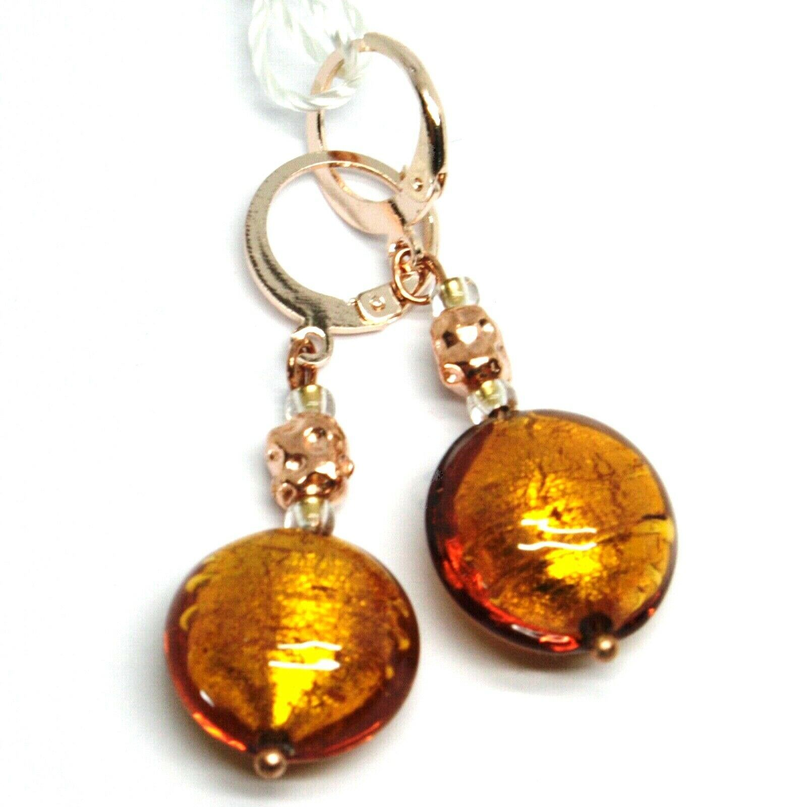 "PENDANT ROSE EARRINGS ORANGE ROUNDED DISC MURANO GLASS 4.5cm 1.8"" MADE IN ITALY"
