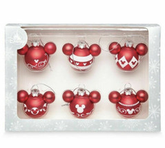 Disney Parks Mickey Mouse Icon Red & White Mini Glass Ornaments Set Of 6... - $29.69