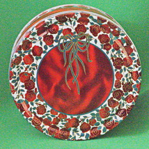 Vintage Beautiful Round Lidded Metal Container, Red Roses And Green Ribbons - $3.95