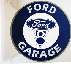 "Ford V8 Garage Flange Sign 12"" Diameter - $60.00"