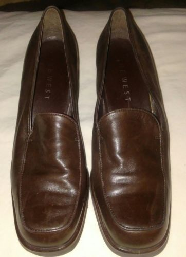 Leather Pumps Heels Shoes Brown Size 9M Women Comfortable