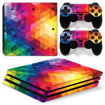 Sony PS4 PRO Neon Triangle Console & 2 Controllers Decal Vinyl Skin Wrap Sticker - $13.83