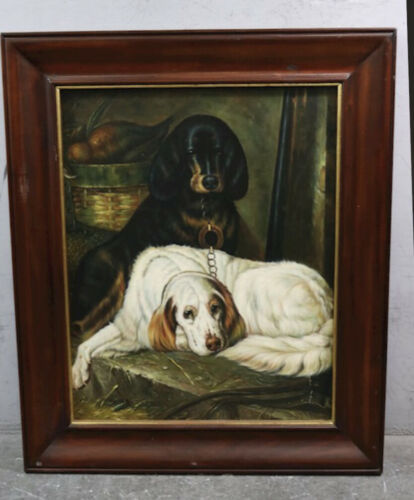 "Large 37.5""x 31.5"" Maitland Smith Black White Dog Wood Frame Art Decor Neiman"