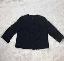 Talbots Linen Button Up Jacket Size 14 Petite Color Black - $24.75
