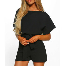Sexy Summer New Fashion Solid Belted Elegant Women Romper O Neck Short S... - $26.89 CAD