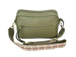 Women's Leather Handbag Embroidered Tribal Pattern Strap Shoulder Purse image 7